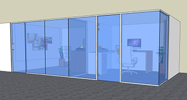 LUZIO - Offset single glass with sliding door and hinged swing door