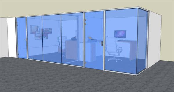 LUZIO - Single centered glass with hinged swing door
