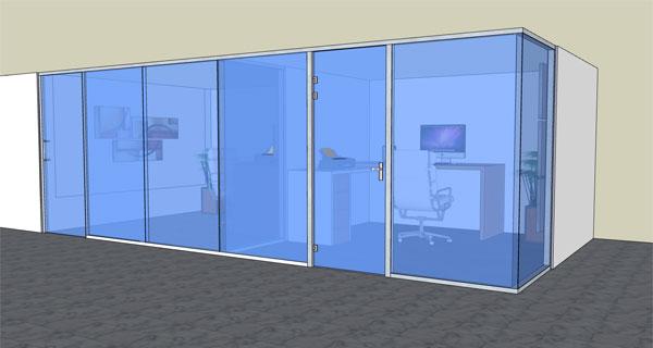 LUZIO - Offset single glass with sliding door and hinged swing door