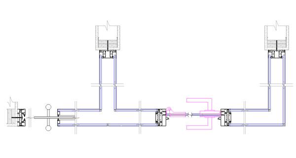 LUZIO - Verre double décentré avec porte coulissante et porte battante sur charnière
